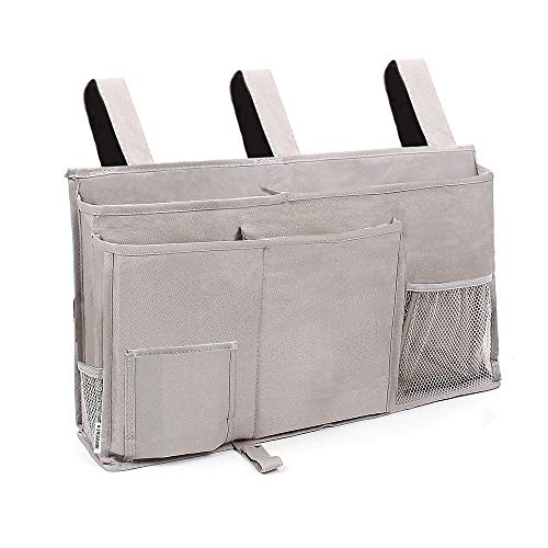 Sunnyac Bedside Caddy, Cube Storage Organizer with 8 Pockets, Durable Oxford Hanging Bag, Pouch, Holder for Books, Phones, Tablets, Magazines, Best for Dorm Room Bunk Bed, Hospital Bed Rail (Grey)