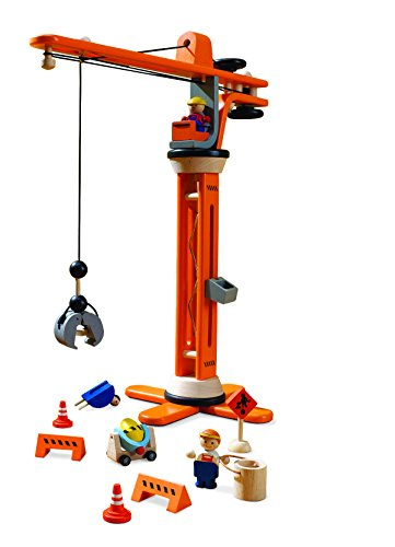 Plan Toys Crane (PlanToys Plan City Wooden Miniature Crane with Accessories, 11)
