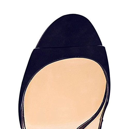 EDEFS Womens Peep Toe 120mm High Heels Sandal Open Toe Slingback Sandals Party Dress Shoes Suede Navy rxitmMcdHV