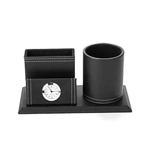 Clock Pen Cup (Mind Reader PENCLOCK-BLK Travel Utensil Holder Storage Compartment with Clock, Black)