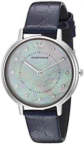 (Emporio Armani Women's 'Dress' Quartz Stainless Steel and Leather Casual Watch, Color:Blue (Model: AR11095))