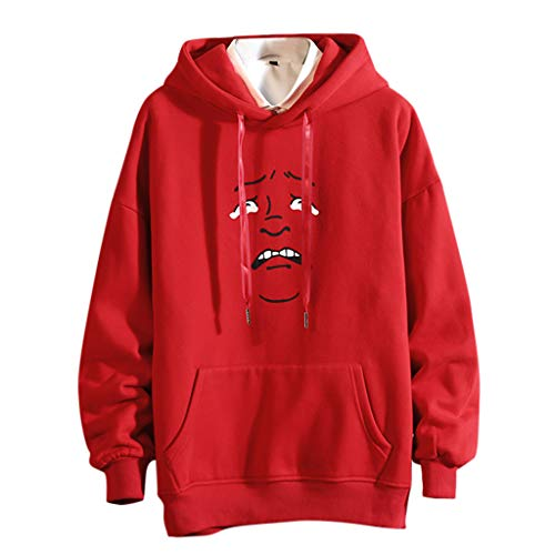 DONTAL Mens Casual Funny Printing Pullover Hoodie Long Sleeve Sweatershirt Tops Plus Size Red (Rose Red Imports)