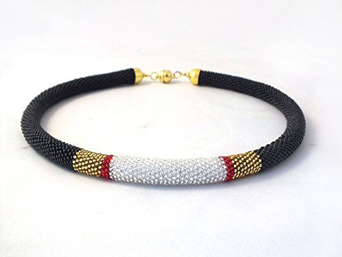 Beaded rope necklace with black gold silver, bead crochet necklace
