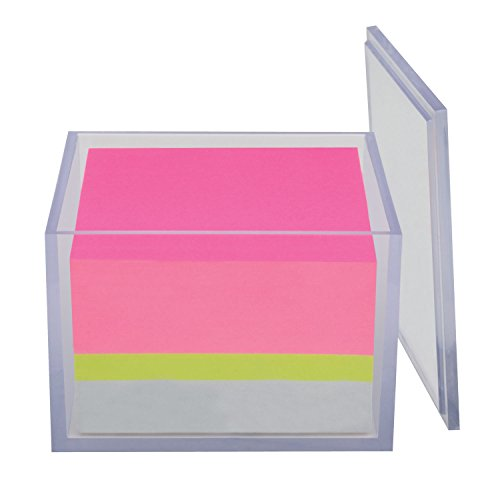 (Post-it Notes Cube, America's #1 Favorite Sticky Note, 3 in x 3 in with Versatile Reusable Container, Assorted Color Notes, 500 Sheets/Cube (2057-BC1))