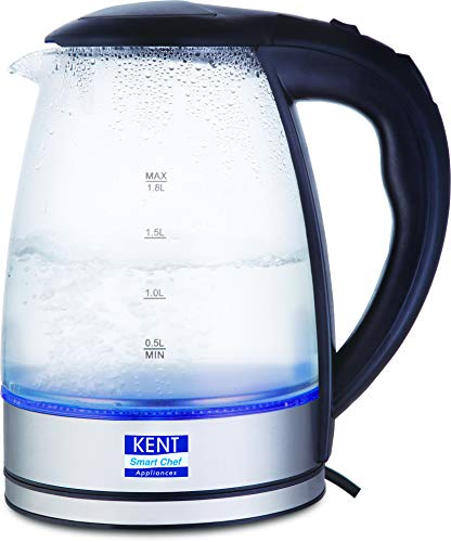 KENT Elegant Electric Glass Kettle (Silver)