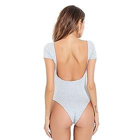 - 41dW2WDH4FL - gagaopt Women Sexy Backless Thong Bodysuit One Piece Cotton Leotard Short Sleeve