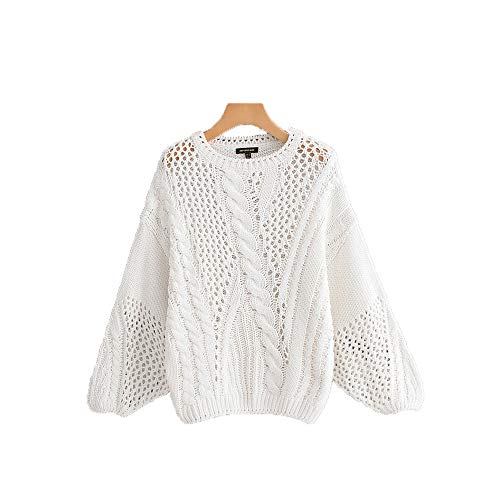 Pull col rond pull femme couleur unie pull creux (Color : White, Size : M) White