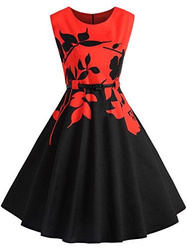 Vestito da Donna Vintage Anni 1950s Abito da Sera con Stampa Floreale Lunga Gonna Elegante da Cerimonia Senza Maniche Woman DressCocktail Rosso e Nero