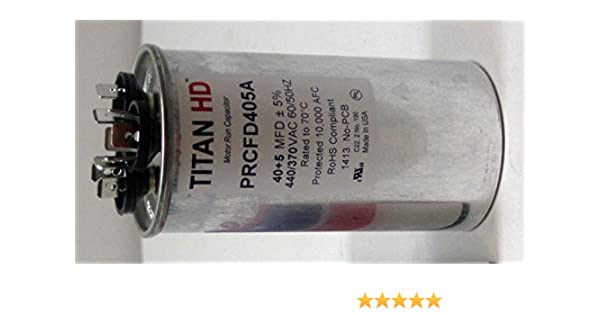 TITAN HD PRCFD405A Motor Dual Run Cap,40//5 MFD,440V,Round