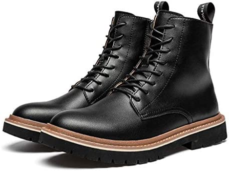 防水チューブレースアップハイキングブーツファッションイングランドレトロウィンドツールブーツトレンドラウンドヘッドコンフォートウェアマーティンブーツソフトソール (Color : 黒, Size : 25 CM)
