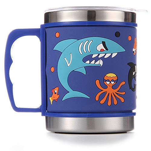 (12 Oz Kids 304 Stainless Steel Shark Mug With Slider Closure Lid - Eco-Friendly - BPA Free - by F-32 Signature Collection (Shark Blue) )