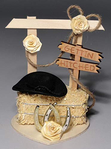 Gettin' Hitched Western Wedding Cake Topper or Table Decoration ()