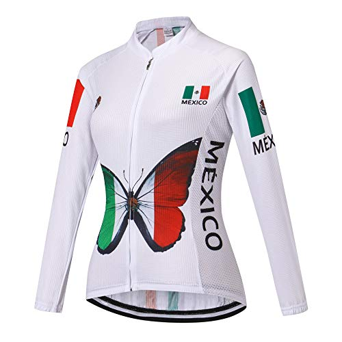 Women Cycling Jersey Long Sleeve Bike Jacket Biking Shirt Bicycle Clothing Mexico Style White Size L