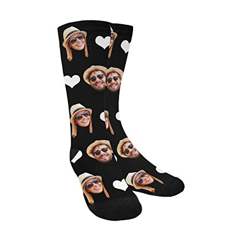 Custom Print Your Photo Pet Face Socks with 2 Faces, Personalized White Heart Black Crew Socks for Men Women