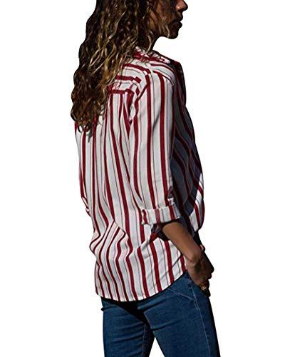 Tops Femme C Classique Printemps Up Ray Longues Chic V Shirt Tunique Mode Chemise Manches Blouse Vin Minetom Chemisier Col Automne Rouge Button nH7Bqqx