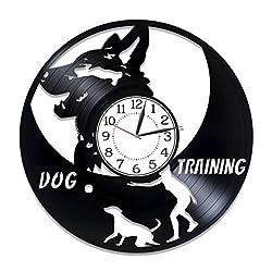 Kovides Dog Training Vinyl Clock 12 Inch Animal Original Home Decor for Man and Woman German Shepherd Birthday Gift Idea for Kids Dog Vinyl Record Wall Clock Animal Handmade Clock