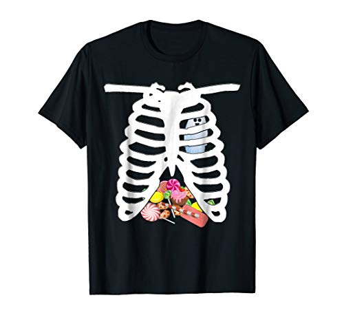 Mens Rib-Cage Shirt Halloween Skeleton Costume Candy X-Ray Gift Medium Black