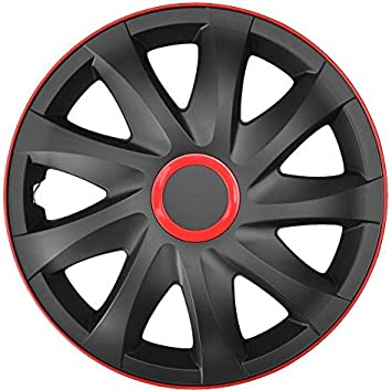 15 Zoll PP 4-er Set Radkappen Radzierblenden Kando Race Black Red