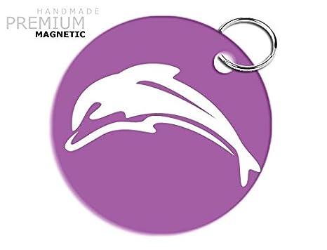 JCM impresionante delfín llavero magnético, color morado ...