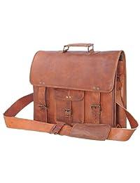 "PassionLeather 16"" Mens Leather Messenger Briefcase Laptop Bag"