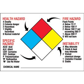 Amazoncom Vinyl NFPA Diamond Format Chemical Hazard Labels - Osha secondary container label template