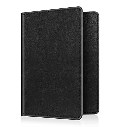 Fintie Passport Holder Travel Wallet RFID Blocking PU Leather Card Case Cover, Vintage Black