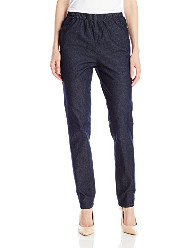 Chic Classic Collection Women's Stretch Elastic Waist Pull-on Pant, Dark Shade Denim, - Blair Collection