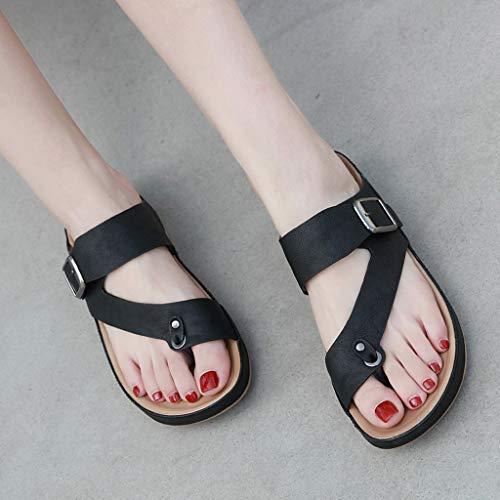 Ceinture Beach Summer Confortable Flip Chaussures Toe Flop Bessky Metal Boucle Pantoufles Clip Tg1Rwfx
