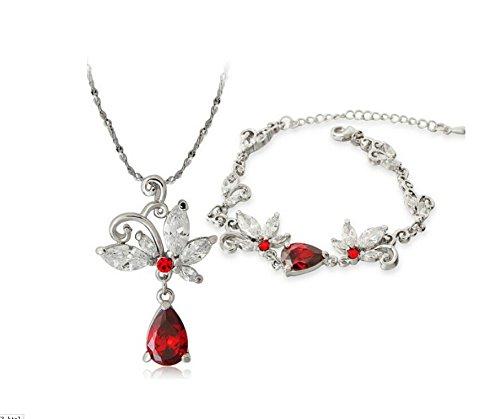 Glucky : 18 KT gold white Butterfly flower Women girls gift Necklace + Hand catenary Jewelry sets TZ138