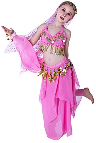 Pink Genie Costumes for Girls Kids Toddler Arabian Princess Costume 4T 4 5 6 7 8 10 12 14 16 ()
