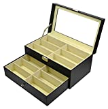 Origia PU 12 Grids Glasses Eye-wear Sunglasses Box Storage Case, Clear Glass Top