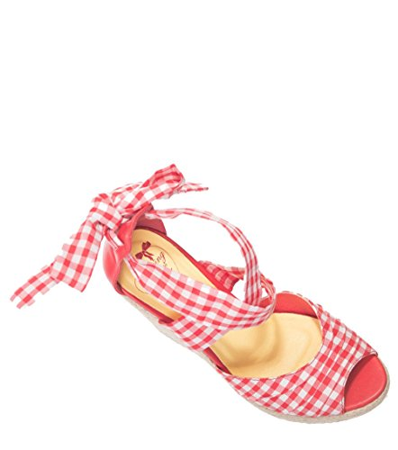 Dancing Days ERIE GINGHAM Vichy Riemchen WEDGES Keilabsatz PUMPS Rockabilly Rot-Weißes Gingham-Muster