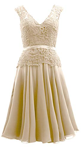 Neck Bride Dress Mother Gown Champagne Women Midi Lace Chiffon V The of Formal MACloth Egq7Px
