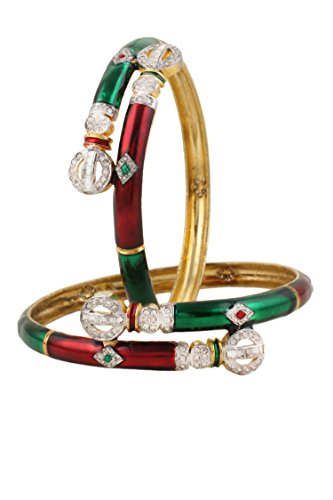 Dilan Jewels HAPPINESS Collection Multicolor Enamel Zircon Studded Bangles For - Studded Enamel Bangle