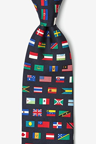 Country-Flags-Navy-Blue-Silk-Tie