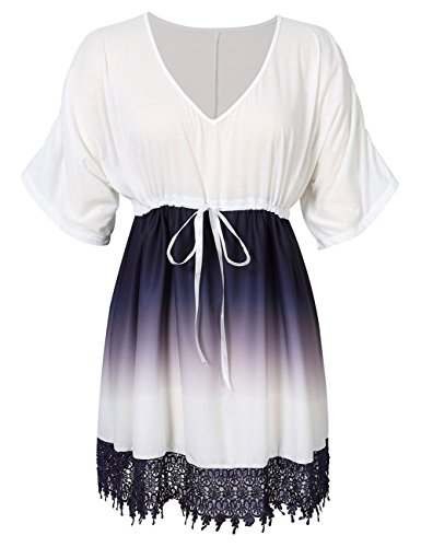 Yiwa Women Plus Size Casual V-Neck Contrast Lace Trim Summer Dress White - America In Shops Dress Mall Of