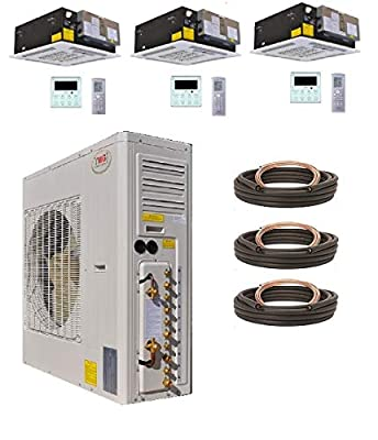 YMGI Tri Zone Air Conditioner - 54000 BTU 21 Seer 4.5 Ton (18K +18K+18K) Ceiling Cassette Mini Split Air Conditioner with Heat Pump for Home, Office, Apartment with 25 Ft Lineset Installation Kits