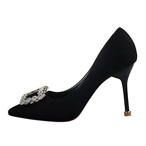 Noir Haut Unie Talon Pointu Légeres Agoolar Suédé Chaussures À Femme Couleur OycvA