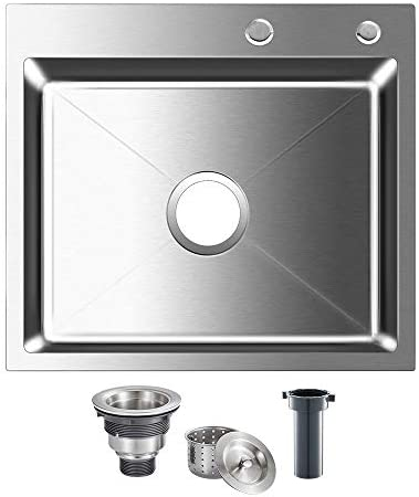 ROVOGO 304 Stainless Steel Kitchen Sink Single Bowl with 2 Holes, Drop-in Handmade Bar Prep Sink with Drain Kit, 21.6 L x 17.7 W x 8.6 D