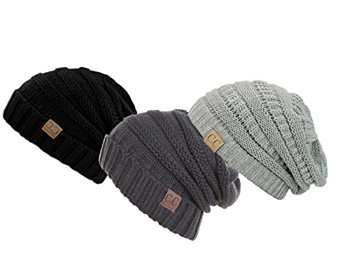 blue-city Unisex Men and Women C.C. Oversized Slouchy Thick Winter Knit Beanie Hat (Black Grey - Hipsters Male Nude