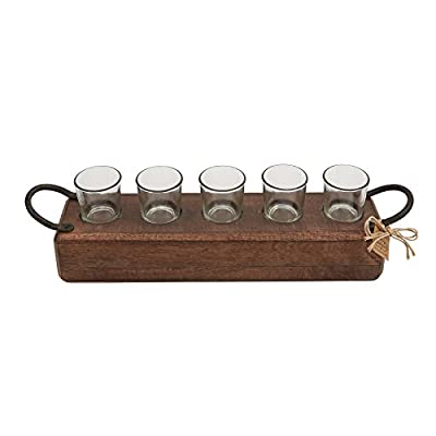 Mud Pie Mango Wood Maison Tea Light Holder Set