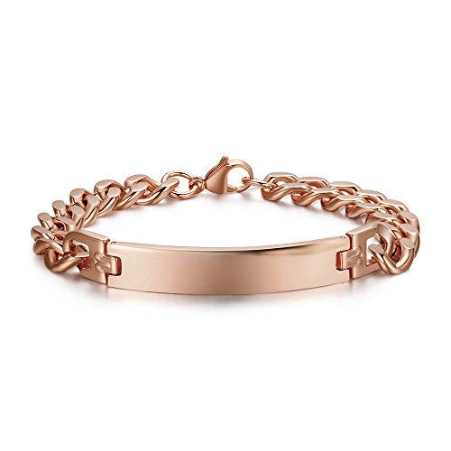 PJ Personalized Custom Engraving Plain Stainless Steel ID Bracelets for Men Women,Rose Gold Plated,8.3'