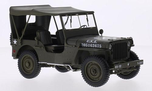 ジープWillys モデルカー マットオリーブ 米国陸軍 完成品 Welly 1:18 B01D1OPXO4