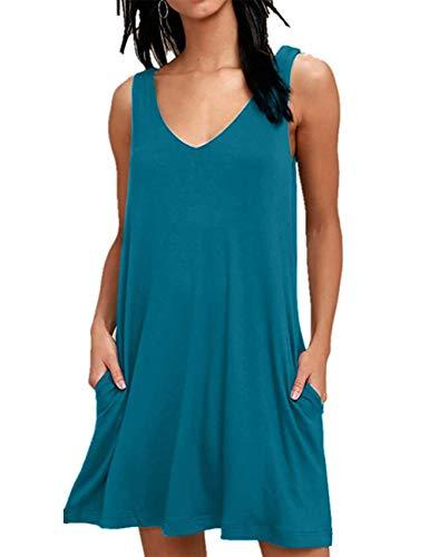 LuckyMore Women's Sleeveless Casual Swing Dresses V Neck Bohemian T Shirt Dress with Pockets Acid Blue M