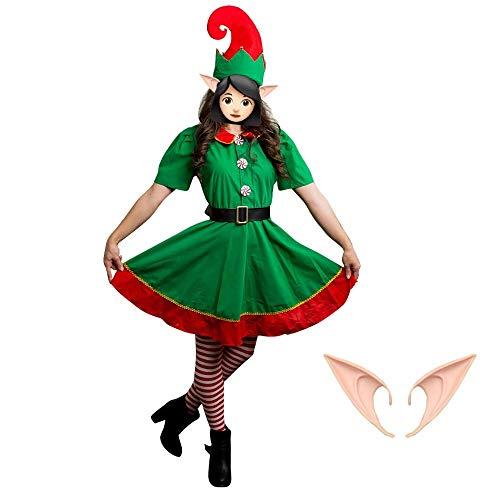 J&C Christmas Elf Costume& Ears for Women, Xmas Santas Elf Cosplay Kit, Elf Ears/Hat/Dress/Legging/Belt