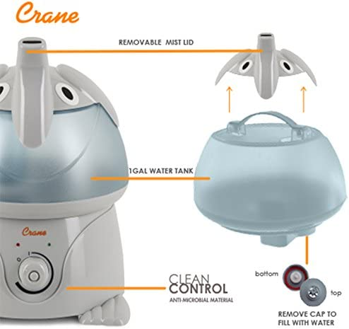 41dW7EL3qNL. AC - Crane Adorables Ultrasonic Cool Mist Humidifier, Filter Free, 1 Gallon, 24 Hour Run Time, Whisper Quite, For Home Bedroom Baby Nursery And Office, Elephant