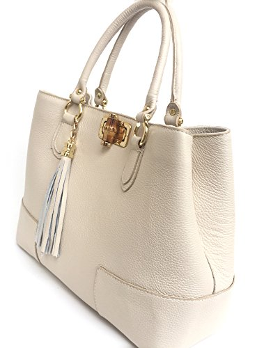 Borsa Bambù Donna Italy Superflybags Beige in Pelle Vera Made Nobam modello in con Chiusura in pdww1x