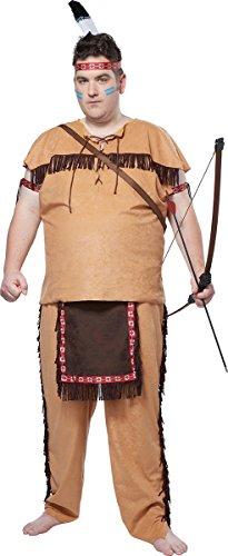 [California Costumes Men's Native American Brave Plus, Tan/Brown, Plus] (Men's Plus Size Indian Chief Costumes)