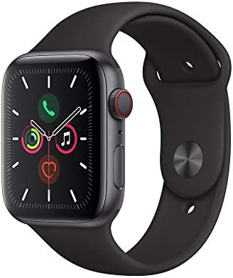 Apple Watch Series 5 GPS Cellular, 44mm – Space Gray Aluminum Case with Black Sport Band