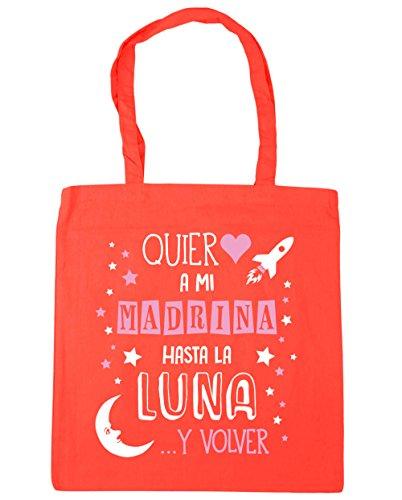 HippoWarehouse ¡Quiero a mi Madrina hasta la Luna y volver! (Rosa) Bolso de Playa Bolsa Compra Con Asas para gimnasio 42cm x 38cm 10 litros capacidad Coral